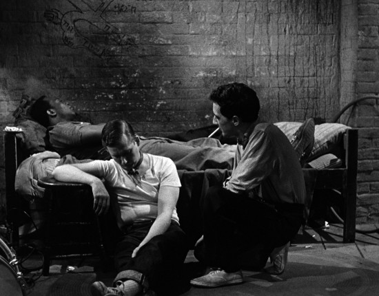 From left: Jim Anderson (as Sam), William Redfield (as Jim Dunn) and Garry Goodrow (as Ernie) in THE CONNECTION, a 1961 film directed and edited by Shirley Clarke. The film was restored by UCLA Film & Television Archives and is distributed by Milestone Film & Video.